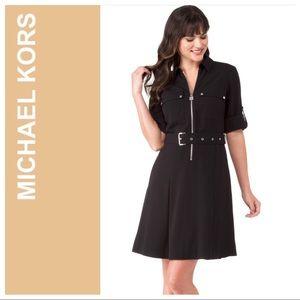 Michael Kors Black Lock Zip Shirtdress